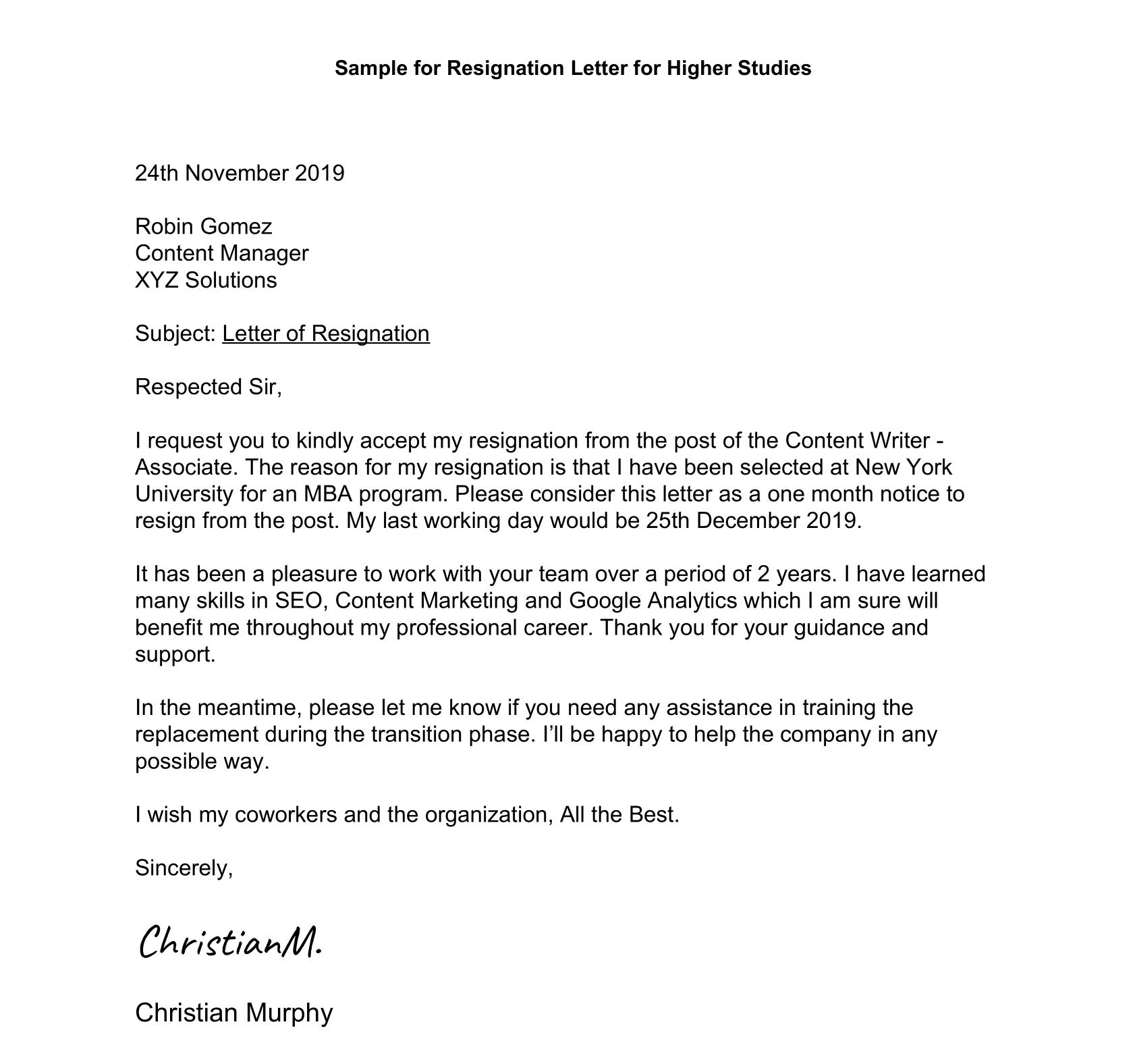 Resignation Letter For Higher Studies Sample 1 Leverage Edu