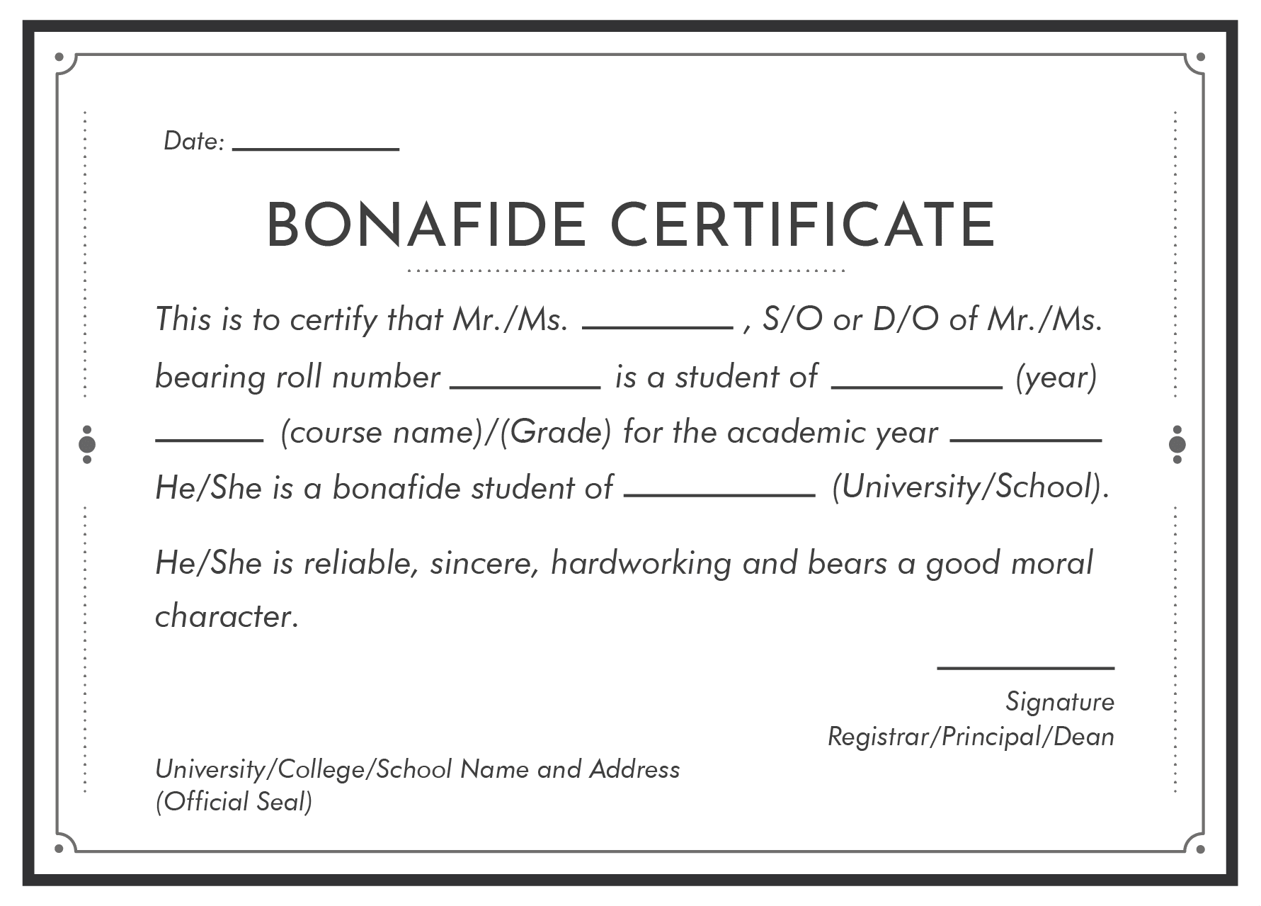 Bonafide Certificate Format For Students Leverage Edu